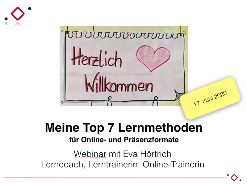 Webinar Lernmethoden online und offline
